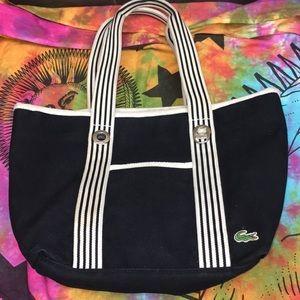 Lacoste Canvas Black White Beach Tote Bag wristlet